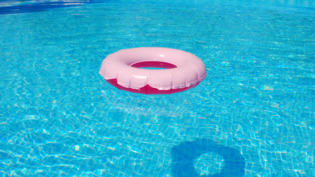 pool toy in an above ground pool installation