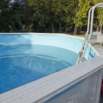 Image of an above ground pool in the backyard.